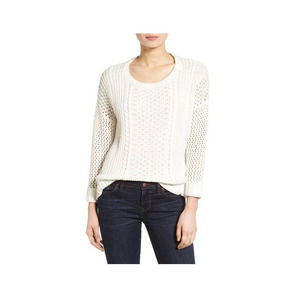 Madewell Bright Ivory Karlie Cable Knit Sweater M